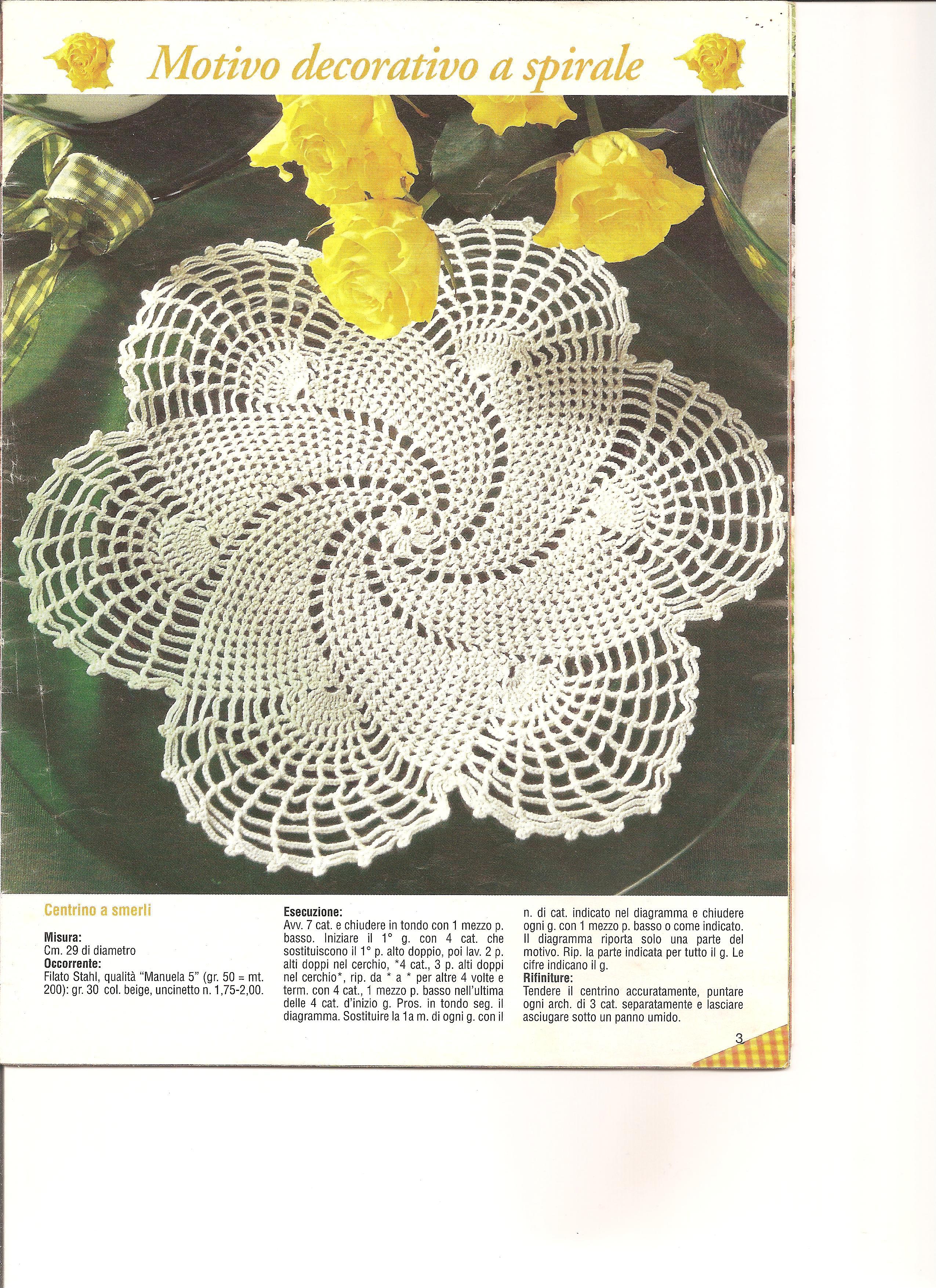 Centrino uncinetto a spirale 1 punto for Immagini uncinetto