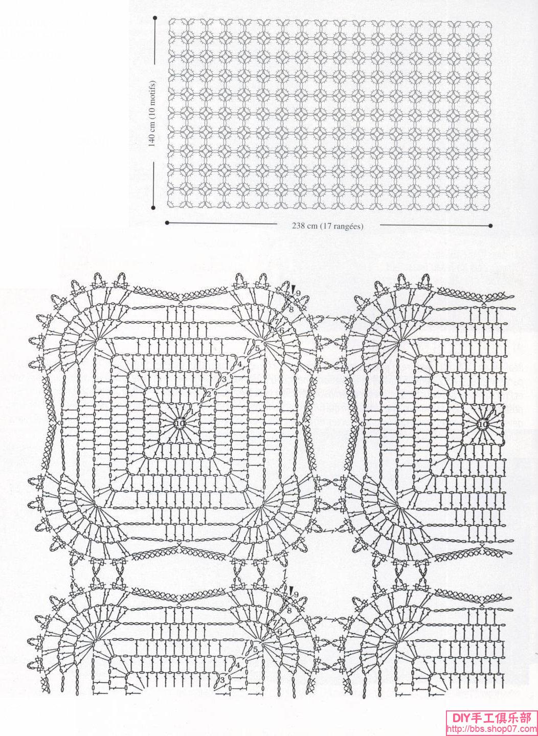 Copriletto piastrelle quadrate piccole 2 punto croce uncinetto schemi gratis - Schemi piastrelle uncinetto ...