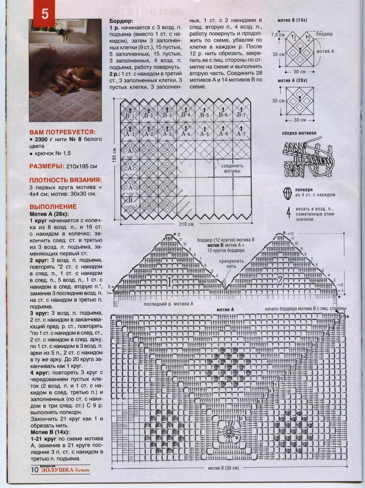 copriletto uncinetto moduli quadrati bordo a punte (2) - magiedifilo.it punto croce uncinetto ...