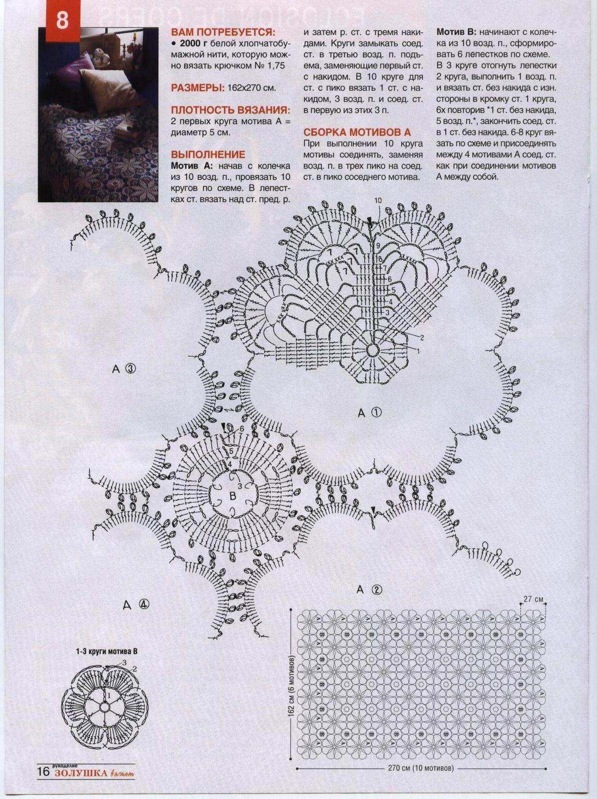 Copriletto Uncinetto Moduli Rotondi E Roselline Dirlanda 2