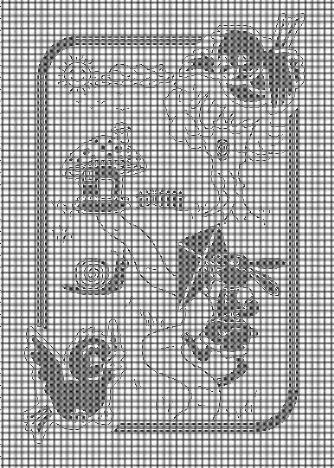 Copertina filet animali del bosco punto for Immagini uncinetto filet