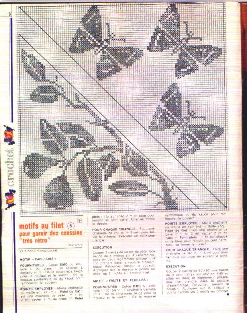 Cuscini Con Farfalle E Bacche Schema Filet Uncinetto 2