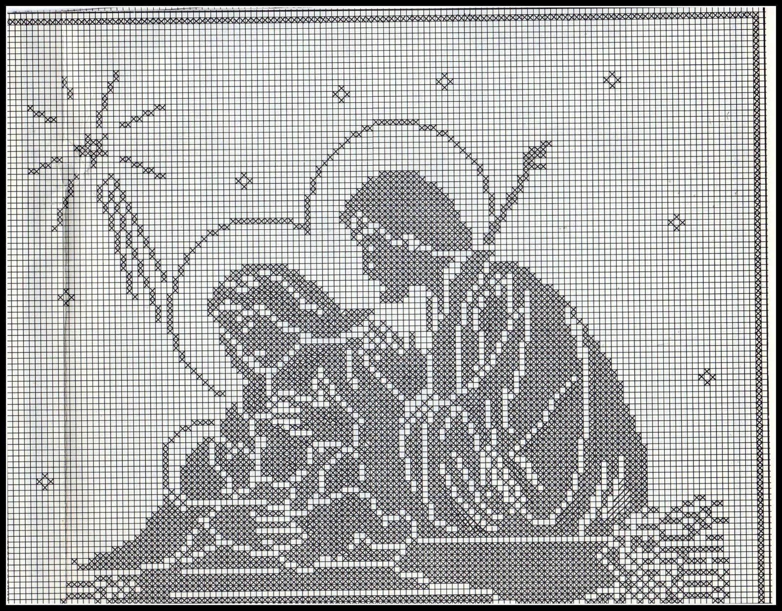Natale Filet Magiedifiloit Punto Croce Uncinetto Schemi Gratis