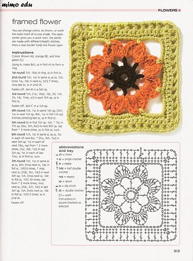 Piastrella fiore1 punto croce uncinetto - Schemi piastrelle uncinetto ...