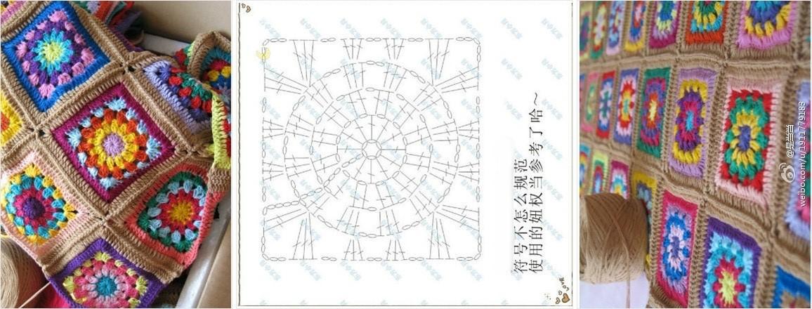 Piastrella quadrata coperta colorata punto croce uncinetto schemi gratis hobby - Coperta uncinetto piastrelle ...