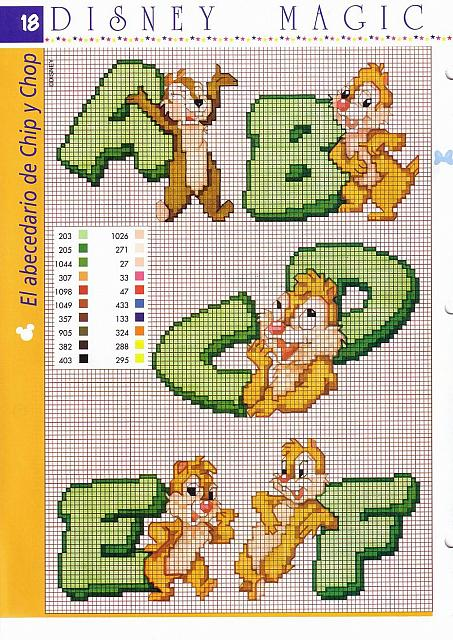 Alfabeto cip e ciop punto croce verde 1 for Schemi punto croce alfabeto disney