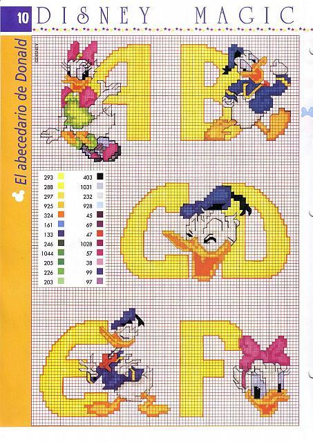 Alfabeto disney giallo con paperino e paperina 2 for Alfabeto punto croce disney gratis