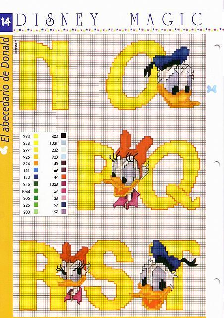 Alfabeto disney giallo con paperino e paperina 4 for Alfabeto punto croce disney gratis