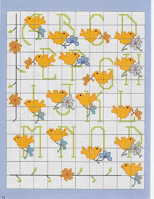 Alfabeto punto croce con canarini gialli 1 magiedifilo for Alfabeto a punto croce schemi
