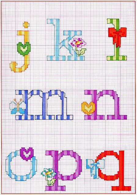 Alfabeto punto croce con fiocchi fiori e farfalle 2 for Farfalle punto a croce