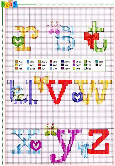 Alfabeto punto croce con fiocchi fiori e farfalle 3 for Schemi punto croce fiori e farfalle