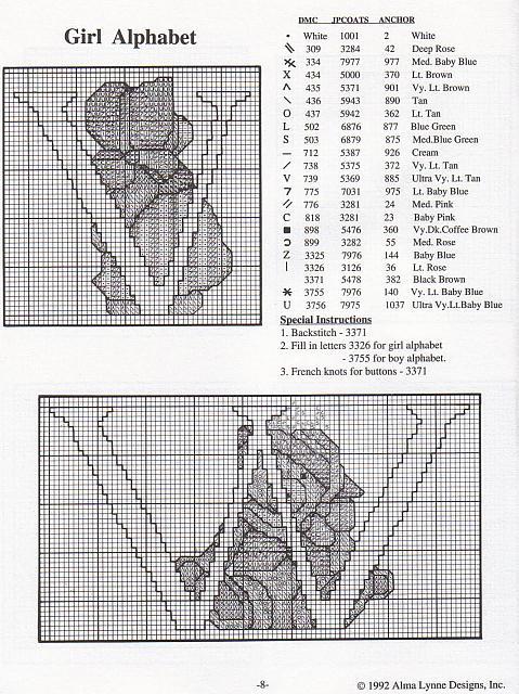 Alfabeto punto croce con gli orsetti teneri 10 for Orsetti a punto croce schemi