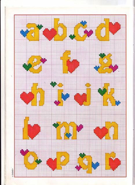 Alfabeto punto croce minuscolo giallo con cuoricini 1 for Alfabeto punto croce disney gratis