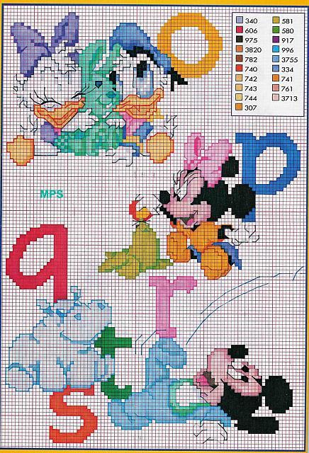 Alfabeto baby disney topolino minnie 3 for Alfabeto disney a punto croce