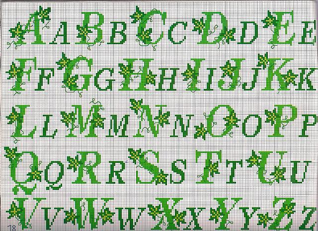 Alfabeto edera punto croce uncinetto for Punto croce schemi alfabeto