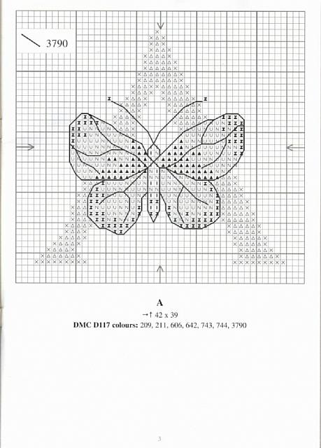 Alfabeto farfalle a punto croce 1 punto for Schemi punto croce farfalle