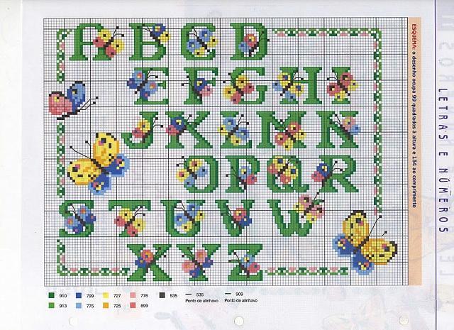 Alfabeto farfalle colorate punto croce for Schemi punto croce farfalle