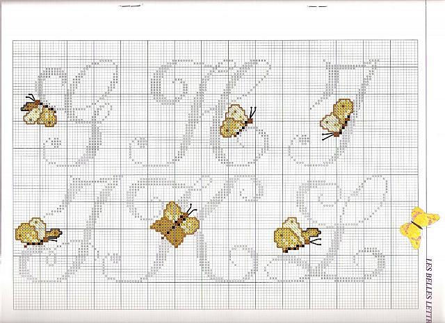 Alfabeto farfalle3 punto croce uncinetto for Schemi punto croce farfalle