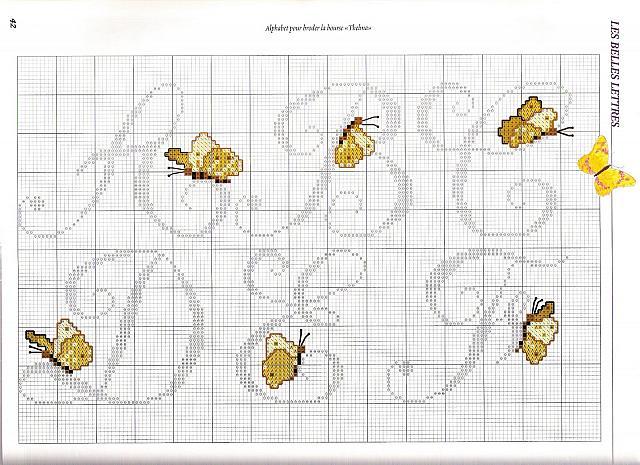 Alfabeto farfalle4 punto croce uncinetto for Schemi punto croce farfalle