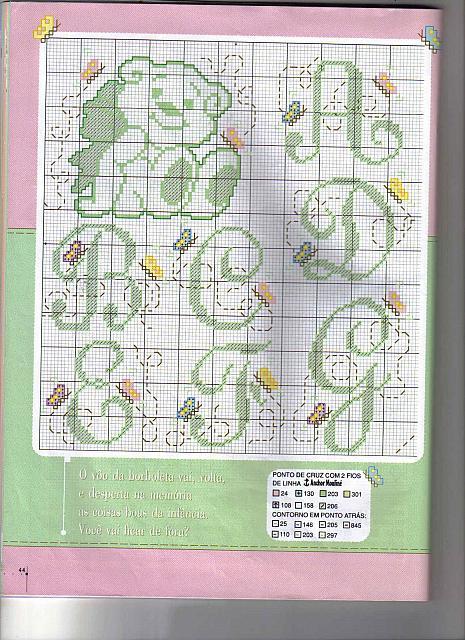 Alfabeto maiuscolo e minuscolo con farfalline in volo 1 for Farfalline punto croce