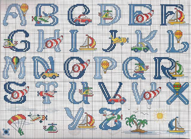 Alfabeto mezzi trasporto punto croce for Schemi punto a croce alfabeto