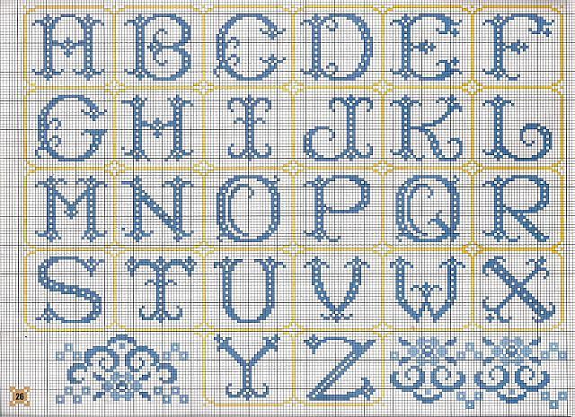 Alfabeto monocolore blu punto croce for Nomi in corsivo gallery