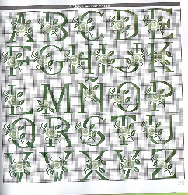 Alfabeto monocolore con rose punto croce for Alfabeto a punto croce schemi