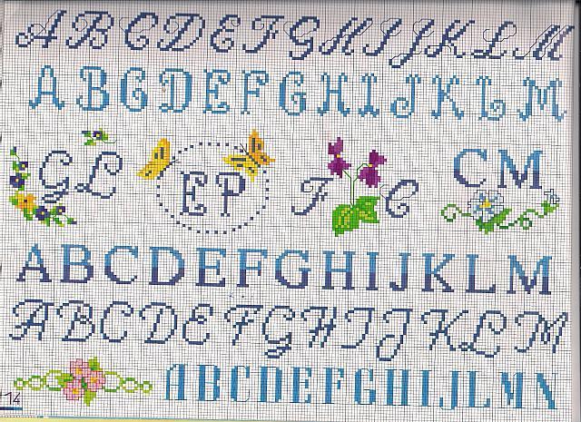 Alfabeto obl farfalle iniziali punto for Alfabeto a punto croce per neonati