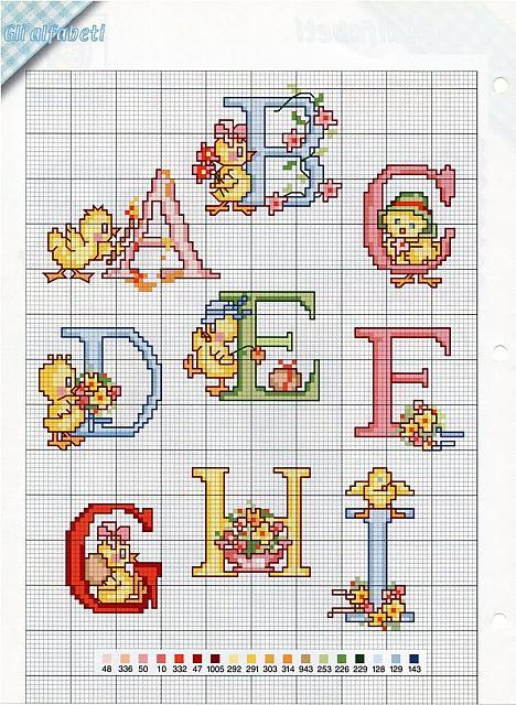 Alfabeto pasqua2 punto croce uncinetto for Alfabeto a punto croce schemi