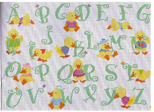 Alfabeto pulcini punto croce uncinetto for Schemi punto a croce alfabeto