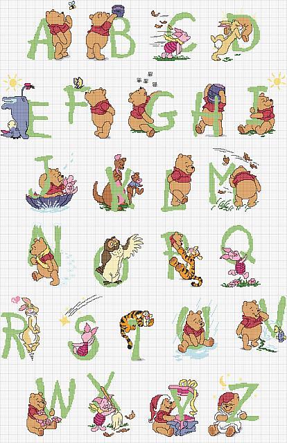 Alfabeto punto croce lettere verdi winnie the pooh for Punto croce disney winnie the pooh