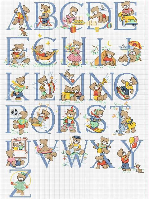 Alfabeto punto croce schema con orsacchiotti bimbo for Alfabeto a punto croce per neonati