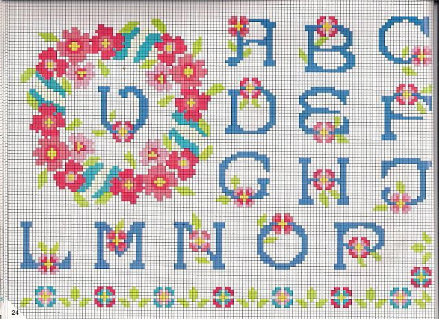Alfabeto rose con ghirlanda punto croce for Schemi punto a croce alfabeto