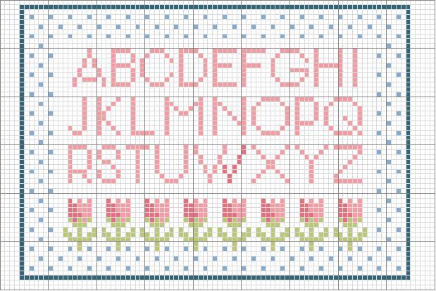 Semplice alfabeto rosa con fiori tulipani for Schemi punto a croce alfabeto