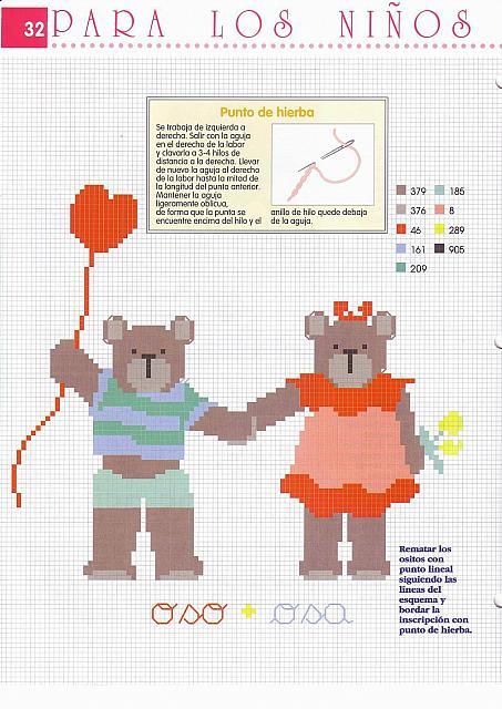 Due simpatici orsetti a punto croce 2 for Orsetti a punto croce schemi
