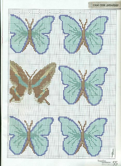 Farfalle azzurre schema punto croce 3 for Farfalle punto a croce