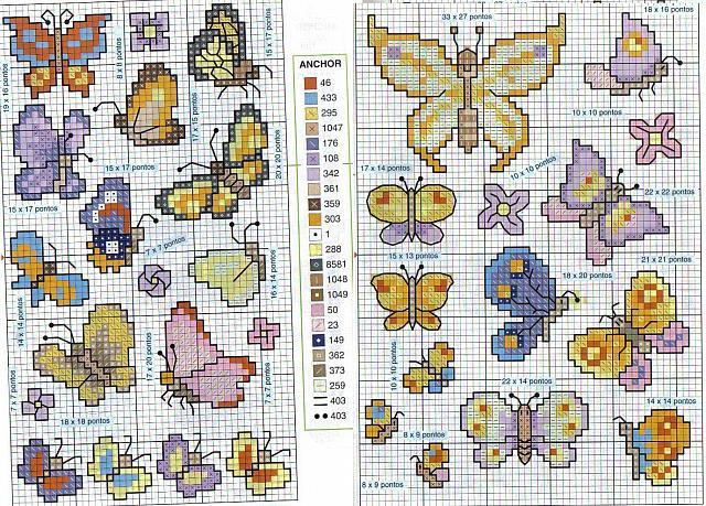 Bellissime farfalle colorate piccole punto croce for Punto croce farfalle