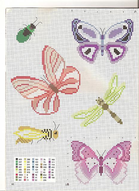 Farfalle colorate 1 punto croce for Piccole farfalle punto croce