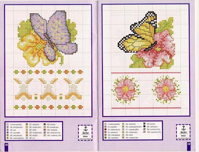 Farfalle su fiori punto croce uncinetto for Schemi punto croce farfalle