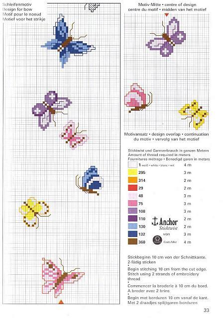 piccole farfalle gialle blu e rosa a punto croce - magiedifilo.it