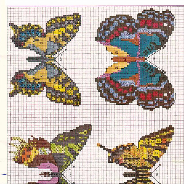 Schemi di farfalle punto croce molto realistiche 1 for Schemi punto croce farfalle