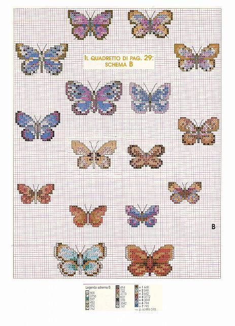 Tanti schemi punto croce di farfalle colorate for Farfalle punto a croce