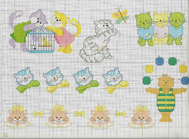 Schemi Elettrici Per Bambini : Schemi da ricamare animali per bambini gatti gattini
