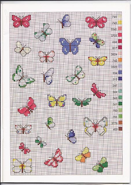 Tante farfalle colorate schemi punto croce piccoli for Farfalle a punto croce per bambini