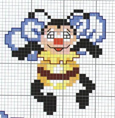Animali ape simpatica punto croce for Schemi a punto croce per bambini