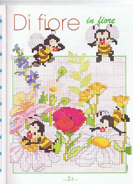 Animali api su fiori punto croce for Schemi punto croce bambini gratis