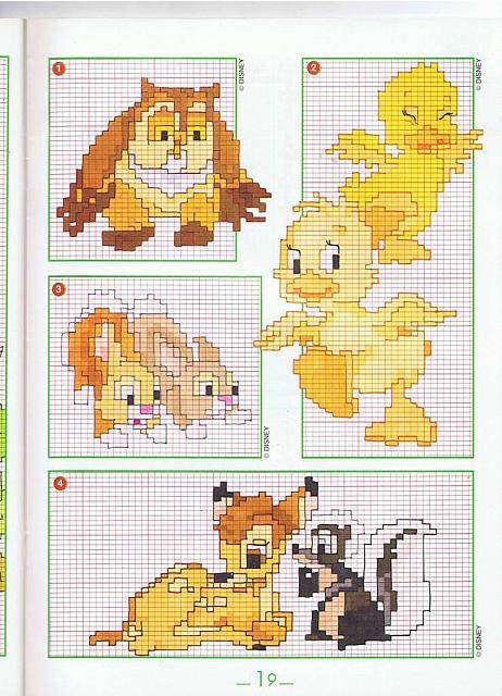 Animali bambi paperelle gufo punto croce for Schemi punto croce animali per bambini