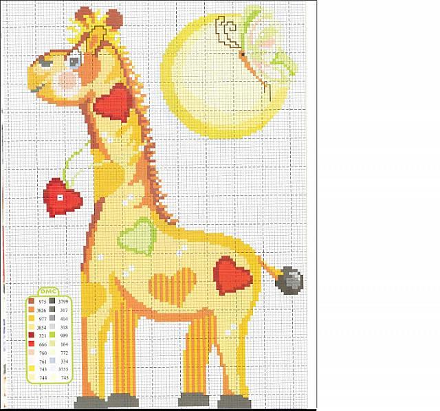 Animali bambini giraffa punto croce for Giraffa punto croce
