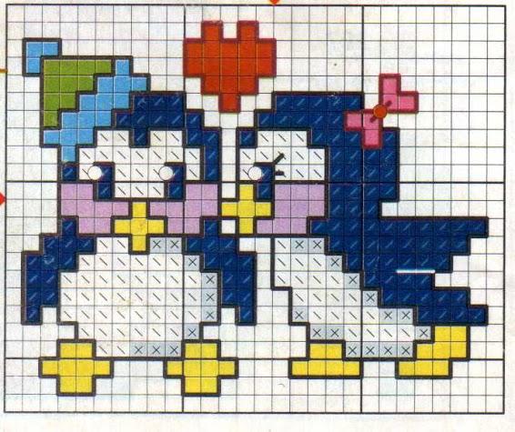 Animali bambini piccoli pinguini punto for Schemi punto croce animali