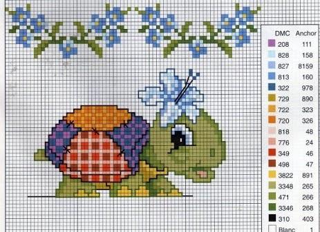 Animali bambini tartaruga fiore punto for Schemi a punto croce per bambini